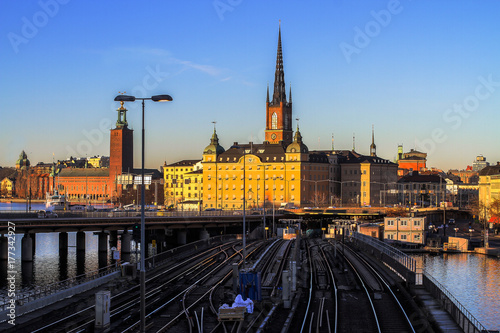 The center of Stockholm at sunset overlooking the subway rails Poster