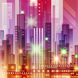 Background with Night City. Vector futuristic illustration - 177346727