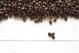 roasted coffee beans background on wood - 177348319