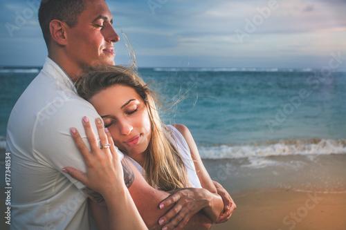 Happy couple at beach, sea view. Traveling at Thailand, Phuket Poster