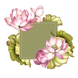 Frame with lotus. Hand draw watercolor illustration. - 177355795