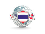 Globe and shield with flag of thailand isolated on white - 177357128