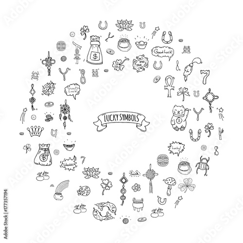 Hand Drawn Doodle Lucky Symbols Icon Set Vector Illustration