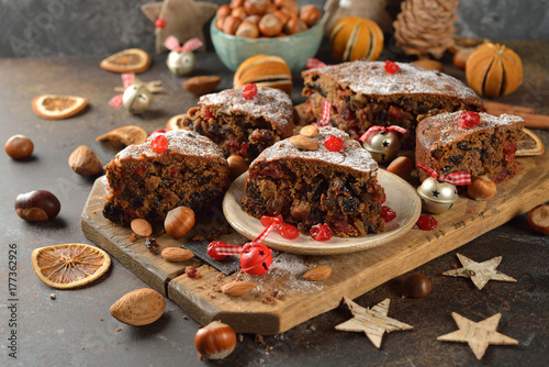 Wall mural Christmas fruit cake
