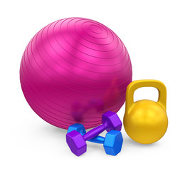 Fitness Ball, Dumbbells and Kettlebell Isolated © nerthuz