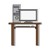 desk with computer frontview icon image office vector illustration design  - 177366584