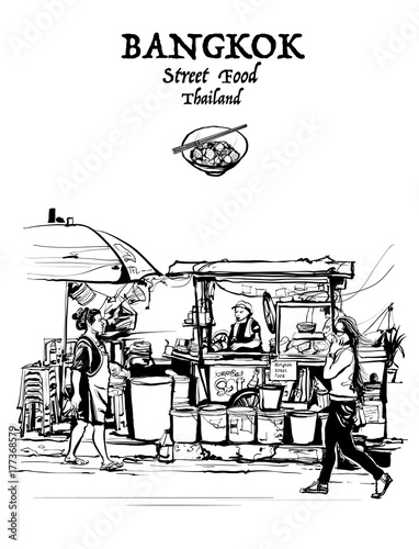 Foto Spatwand Art Studio Bangkok, Thailand. street food