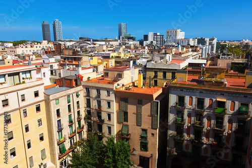 Summer day view of Barcelona city