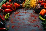 Vegetable food organic pepper tomato pasta eggplant background vegetarian concept - 177371762