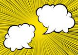 集中線と複数吹き出しの背景 2色 白黒|コミック ふきだし|Speech Balloon  - 177372316
