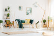 Green living room with pouf
