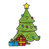 merry christmas pine tree with gifts vector illustration design - 177378557