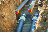 District heating - connecting insulated pipes District heating is a system for distributing heat generated in a centralized location for residential and commercial heating requirements. - 177385149