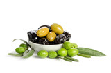 Black and green  olives  mixed in the  porcelain bowl isolated on white background - 177386117