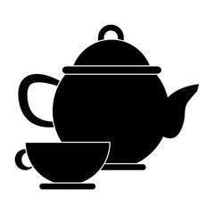 Porcelain teapot and cup utensil icon vector illustration graphic design