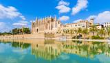 The gothic Cathedral and medieval La Seu in Palma de Mallorca islands, Spain - 177394525