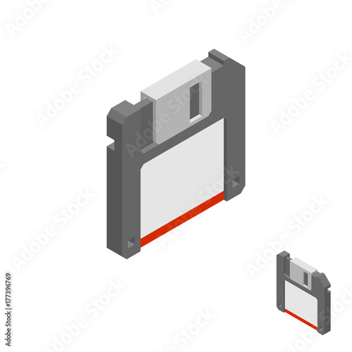 In de dag Retro Floppy diskette icon. Isolated on white background. 3d Vector illustration.