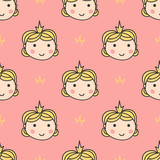 Cute vector seamless pattern background with little princess.