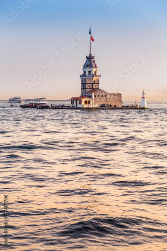 Maiden Tower at sunset, view from ferry boat of bosphorus sea cruise Poster