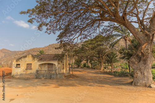 Papiers peints Baobab Famous tree of africa. Baobab. Angola. With african village.
