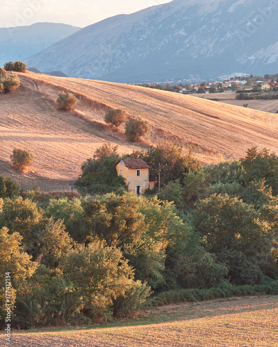 Fotobehang Zalm Agricultural landscape, hills of Abruzzo, Italy