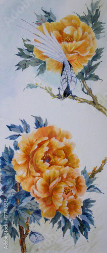 Keuken foto achterwand Vlinders in Grunge A bird and a butterfly on the branches of a blooming yellow peony are painted in watercolor.