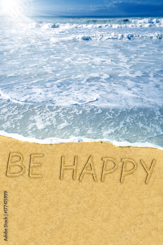 Be Happy on the beach Poster