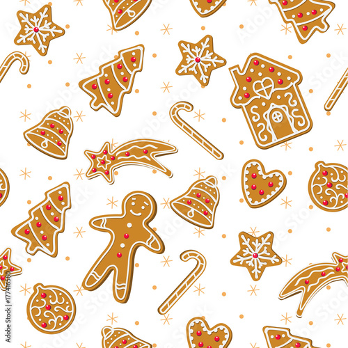 CHRISTMAS GINGERBREAD COOKIES. TRENDY HOLIDAY HOMEMADE DECORATION DESIGN. SEAMLESS VECTOR PATTERN ON WHITE BACKGROUND
