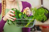 Green vegetables in shopping basket - 177418948