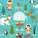 seamless pattern with Eskimos and arctic animals - vector illustration, eps