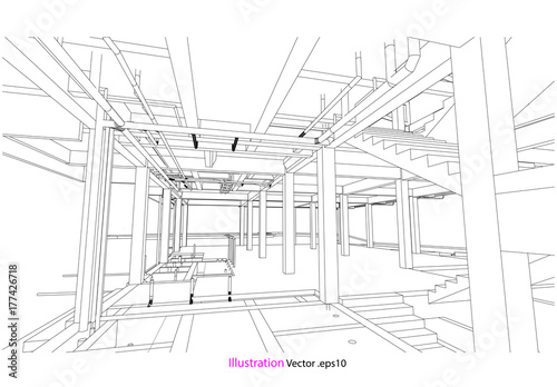 construction building drawing vector model concept