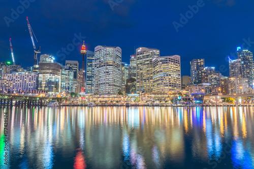 SYDNEY - OCTOBER 2015: Night view of Darling Harbour skyline Poster