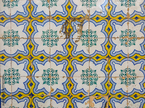Portuguese tiles with geometric pattern in Lisbon Poster