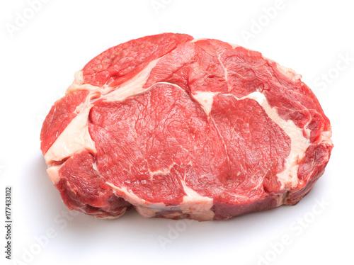 Foto op Plexiglas Steakhouse Raw steak isolated on white background