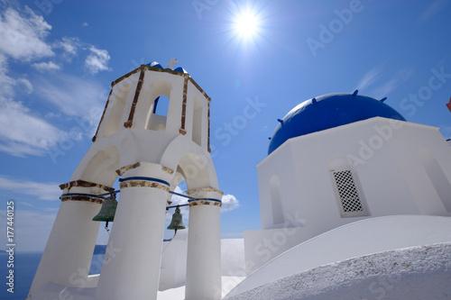 Fotobehang Santorini サントリーニの教会