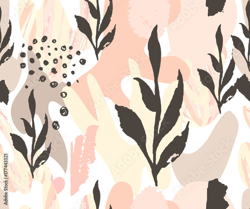 Abstract seamless pattern. Hand drawn textures . Brushstrokes in pastel colors and tree branches.Vector.  Covers, Flyers, banners, presentations, books, notebooks. - 177443321