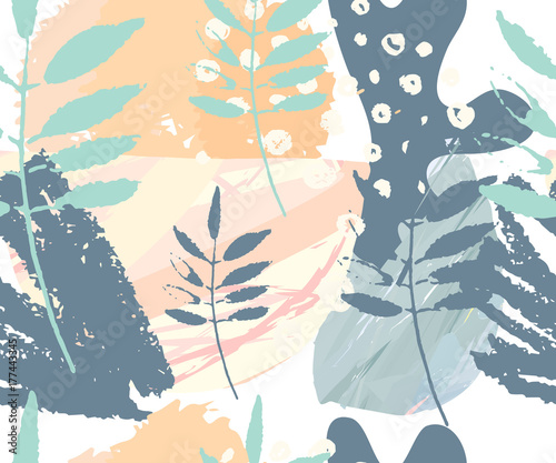 Fototapeta Abstract seamless pattern. Hand drawn textures . Brushstrokes in pastel colors and tree branches.Vector. Covers, Flyers, banners, presentations, books, notebooks.