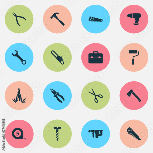Handtools Icons Set. Collection Of Handsaw, Cutter, Shears Elements. Also Includes Symbols Such As Instrument, Pocket, Axe.