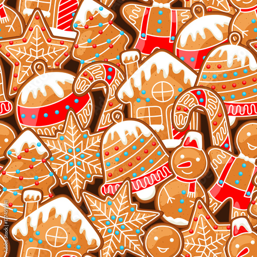Materiał do szycia Merry Christmas seamless pattern with various gingerbreads