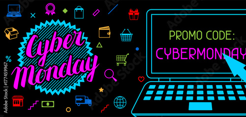 Cyber monday sale banner. Online shopping and marketing advertising concept