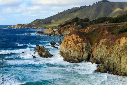 Waves crash upon the coast in Big Sur, California Poster