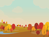 Autumn landscape background with yellow trees in fields and hills