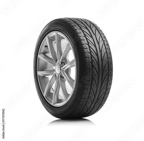Fridge magnet Car wheel on white background.