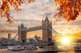 Tower Bridge with autumn leaves in London, England, UK - 177473932