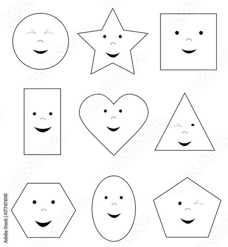 coloring page with smiling happy basic geometric shapes / vector illustration for children
