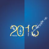 Fototapety 2018 Gold New Year firework blue vector