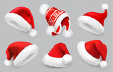 Santa Claus hat. Winter clothes. Christmas 3d realistic vector icon set - 177480924