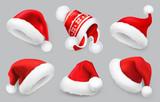 Santa Claus hat. Winter clothes. Christmas 3d realistic vector icon set - 177480924