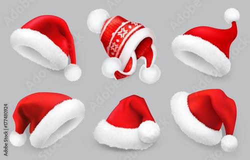 Kapelusz Świętego Mikołaja. Ubrania zimowe. Boże Narodzenie 3d realistyczny wektor zestaw ikon