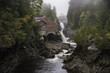 Old MIll and Falls on the Magaguadavic River in St George New Brunswick Canada on a rainy day